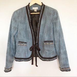 Spiegel Light Blue Tweed Patterned Blazer Jacket